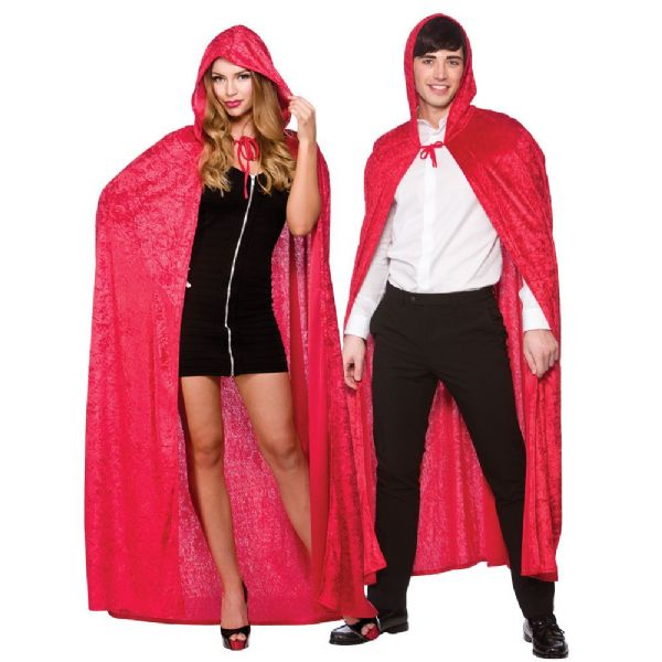 Adult Velvet Hooded Cape - Red